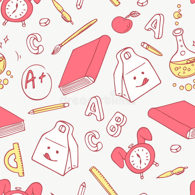 Back to school doodle objects background. Hand drawn school supplies seamless pattern vector illustration