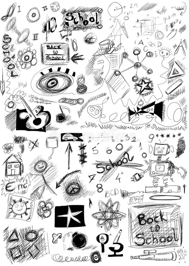 Download Back To School, Doodle School Symbols Isolated Stock Photo - Image: 33035700