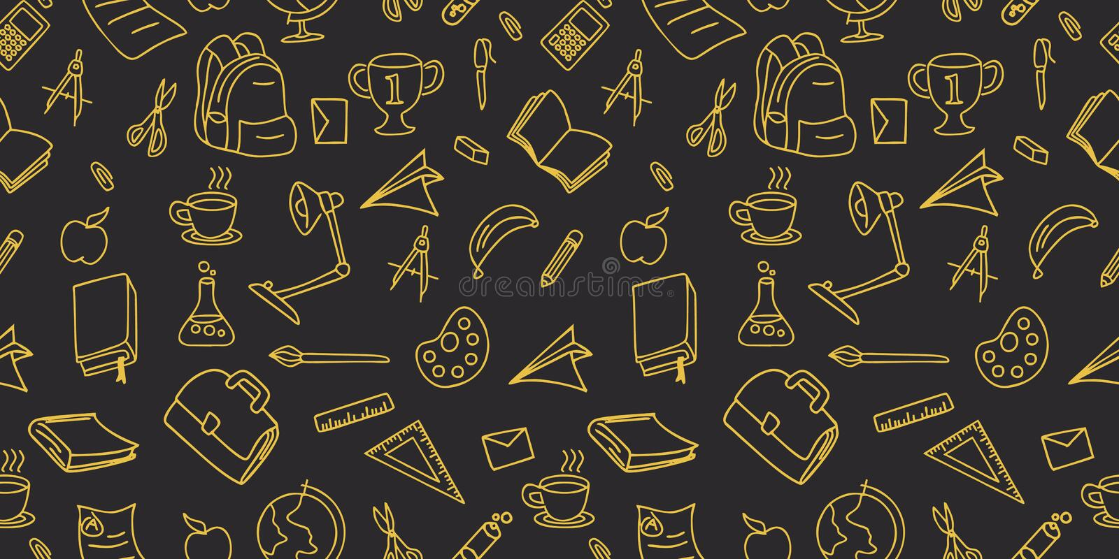 Back to school doodle seamless pattern drawing background lineart design vector illustration royalty free illustration