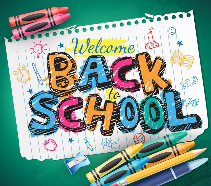 Back to School Doodle Written in a Piece of Paper with Colorful Crayons. Vector Illustration royalty free illustration