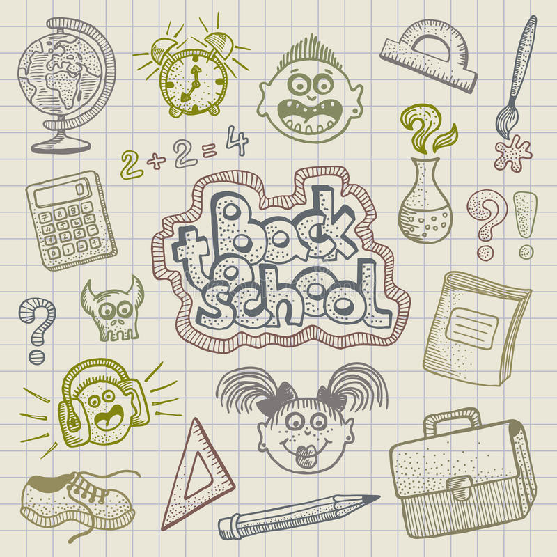 Download Back to school doodles stock vector. Image of hand, girl - 15475086