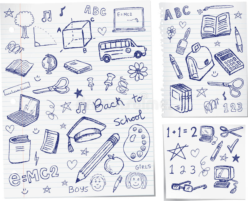 Back to school doodles. Back to school hand drawn doodles illustration stock illustration