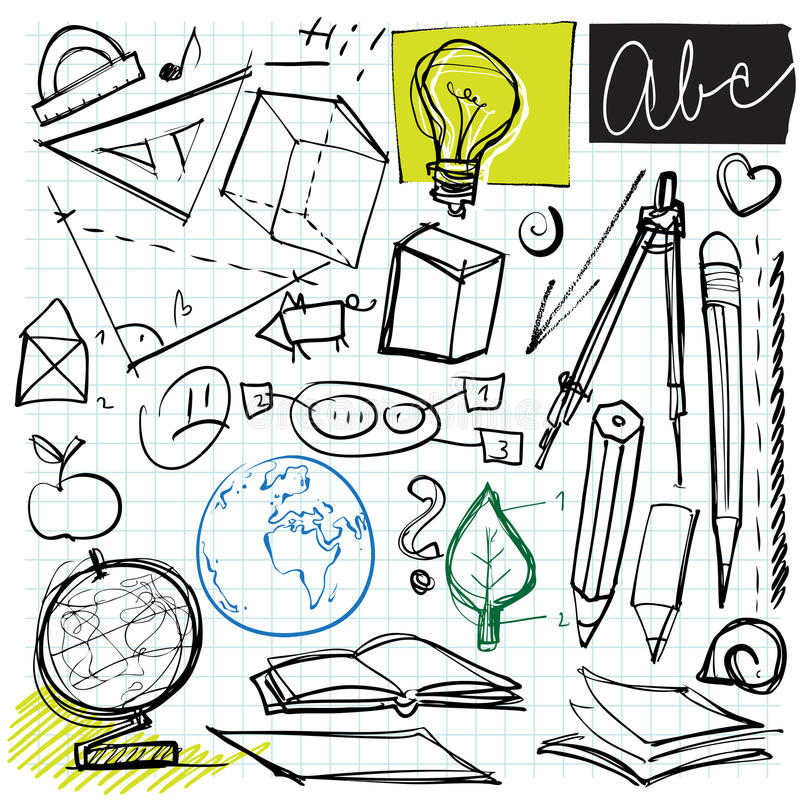 Back to school doodles stock illustration