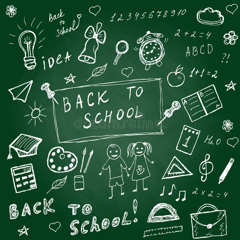 Back to school doodles. Hand drawn school icons set. Sketch school icons set. Vector illustration. Back to school doodles. Hand drawn school icons set. Sketch stock illustration
