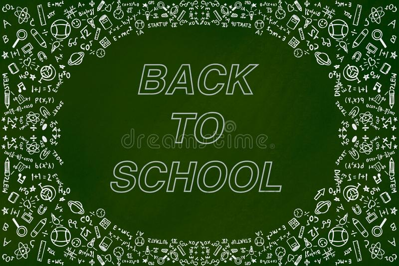 Back to school doodles illustration background concept on green chalkboard royalty free illustration