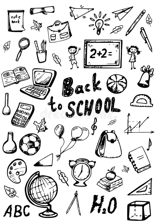 Free Back To School Doodles Set Royalty Free Stock Photos - 56996088