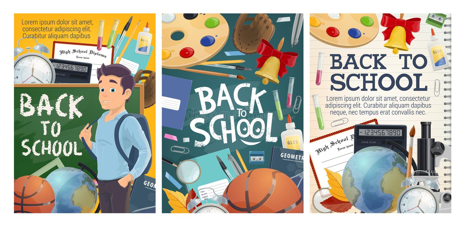 Back to school education and college study posters vector illustration