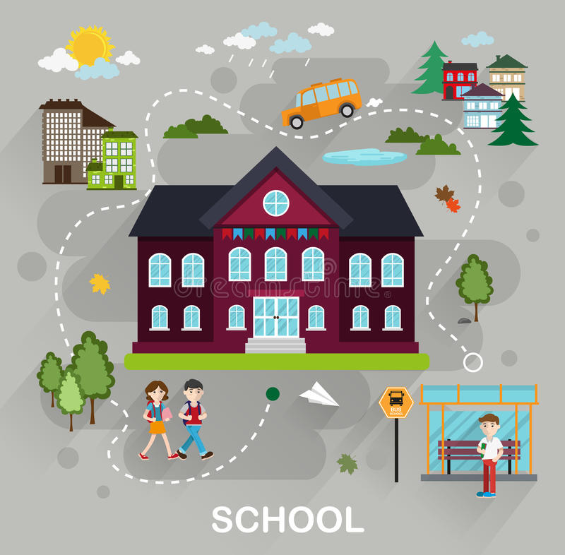 Back to school education concept vector illustration