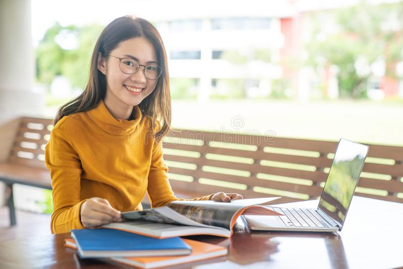 Back to school education knowledge college university concept, Young people being used computer and tablet, Education and technolo. Gy concept royalty free stock photography