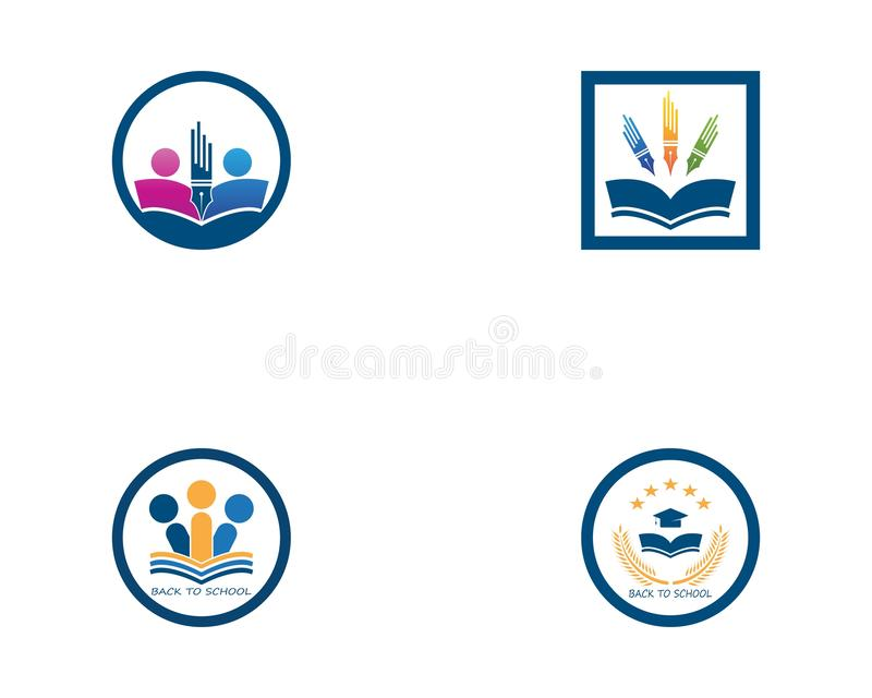 Back to school education logo vector royalty free illustration