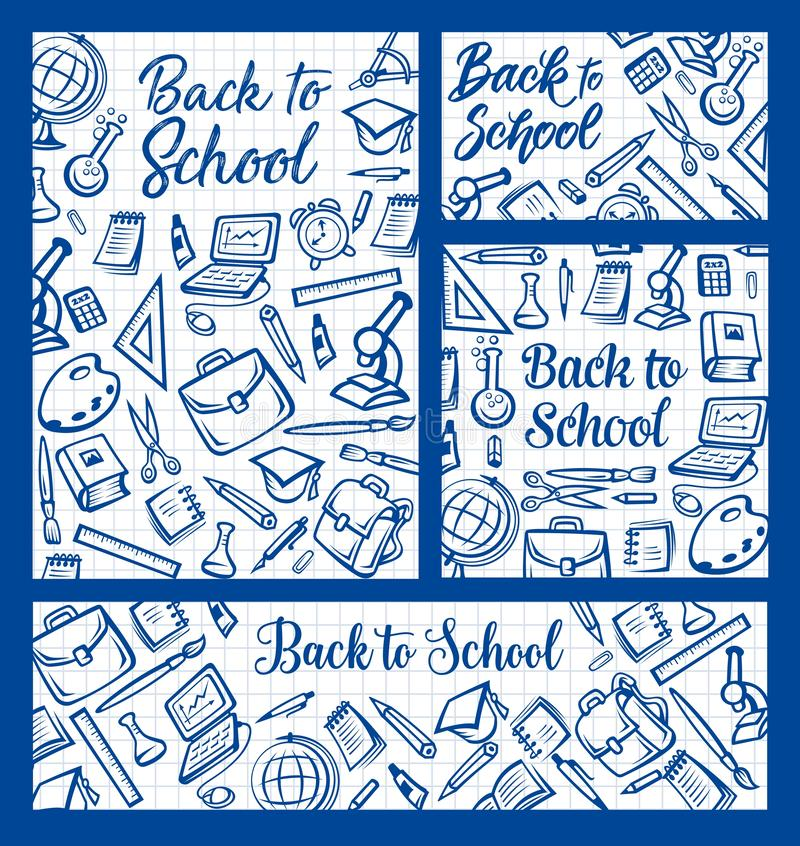 Back to School, education supplies on notepad vector illustration