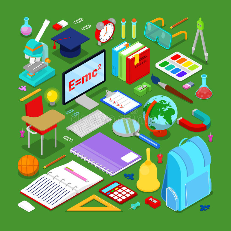 Back to School Educational Concept. Isometric Education Elements with Computer and Science Objects royalty free illustration