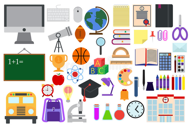 Back to school elements education collection, flat icons set stock illustration