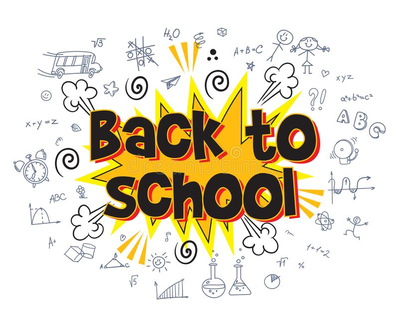 Back to school. Explosion with comic style. Inscription Back to school. Explosion with comic style. Funny cartoon character. Vector illustration. Isolated on vector illustration