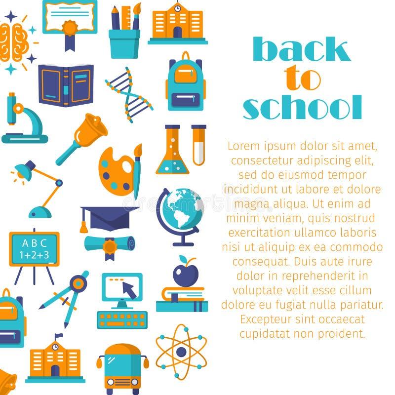 Back to school flat banner stock illustration