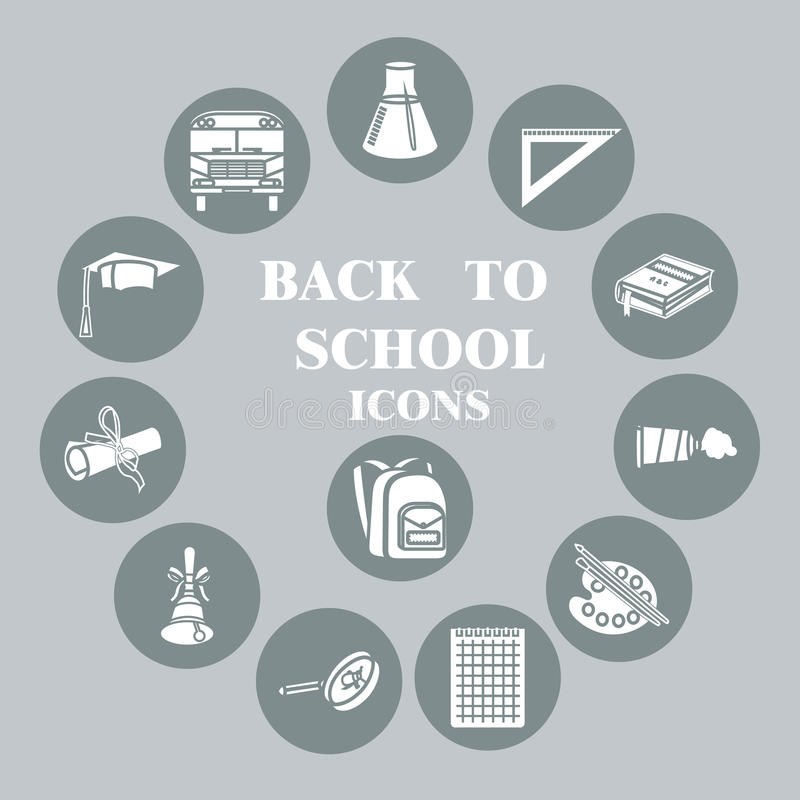 Back To School Flat Icons Set, Grey Circle Stock Vector