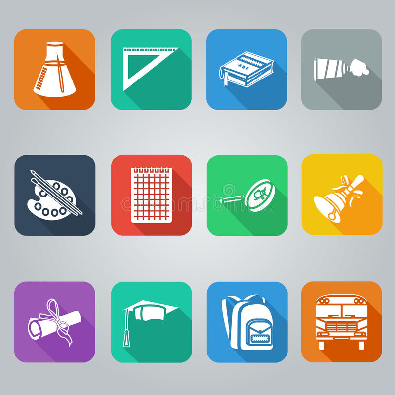 Download Back To School Flat Icons Set, Square With Shade Stock Vector - Image: 43447333