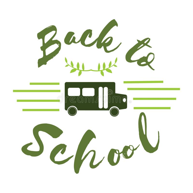 Back to school flat logo with bass for greeting card stock illustration