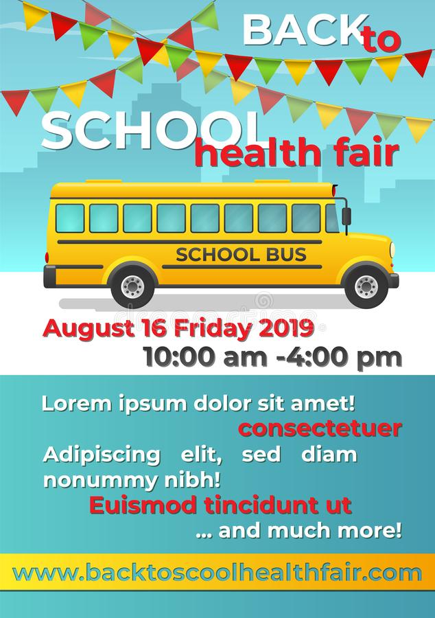 Back to school flyer with school bus. royalty free stock photo