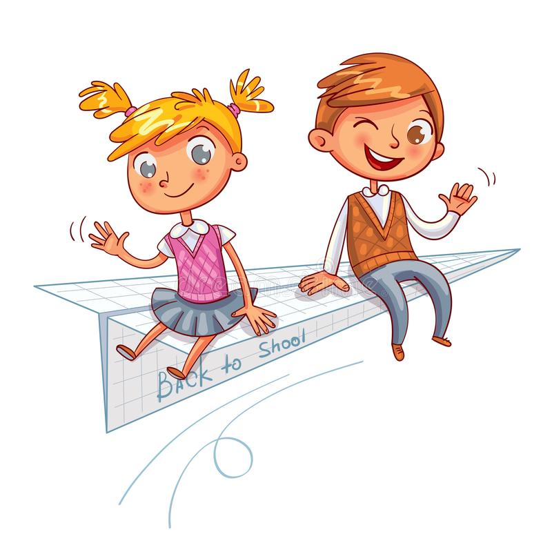 Back to school. Funny cartoon character. A schoolboy and a schoolgirl are flying on a paper airplane. Back to school. Funny cartoon character. Vector stock illustration