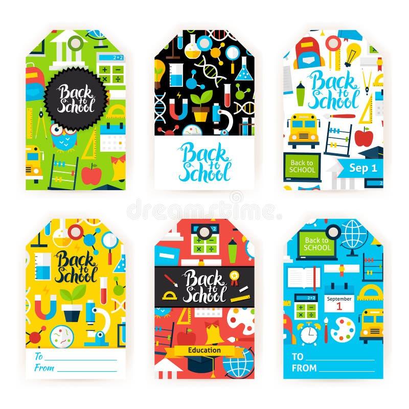 Back to School Gift Label Set. Flat Vector Illustration of Education Tags. Printable Learning Color Badge Design vector illustration