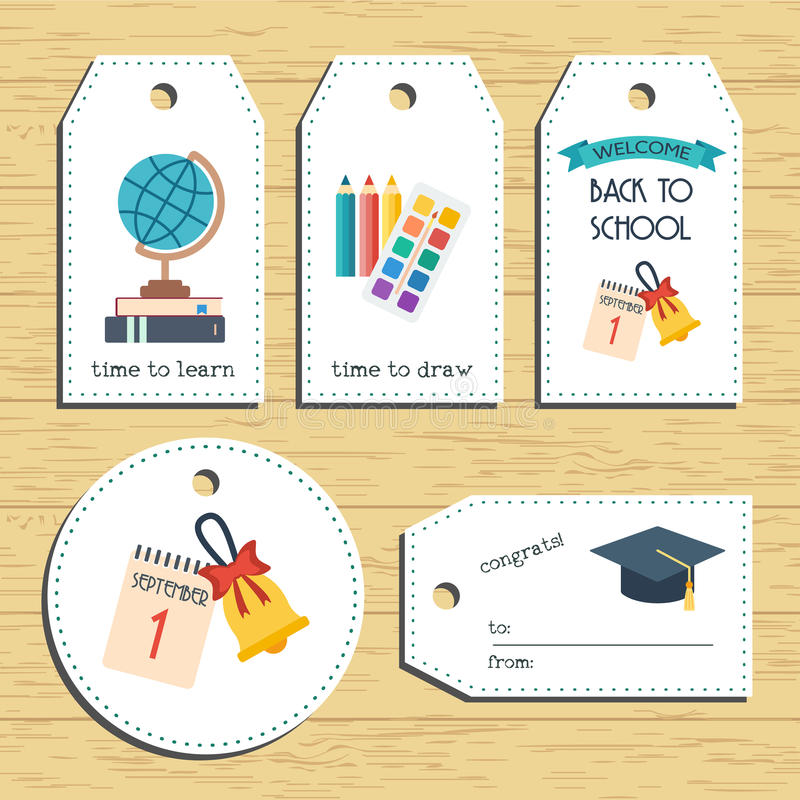 Back to school gift tags. Ready to use. Back to school greeting. Flat design. Vector royalty free illustration