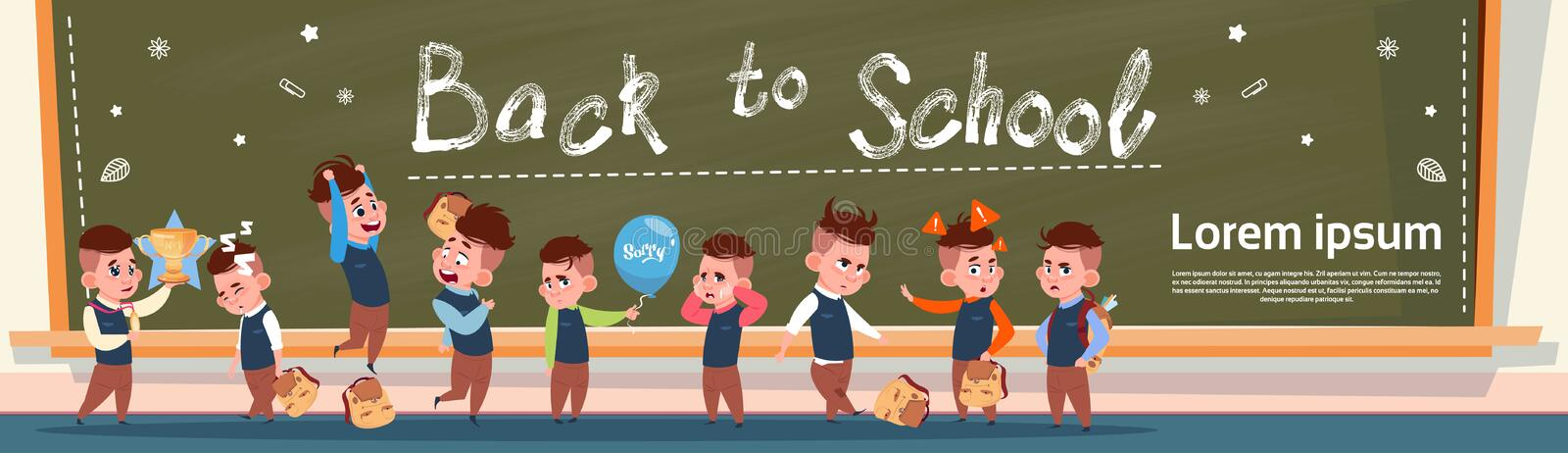 Back To School Group Of Small Pupils Girls And Boys Standing Over Class Board Schoolgirl And Schoolboy Education Banner. Flat Vector Illustration stock illustration