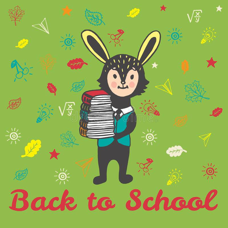 Back to school hand drawn card with Bunny student with books. Back to school hand drawn doodle card with Bunny student. The Bunny student holding a stack of vector illustration