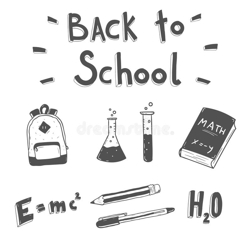 Back to school. Hand drawn doodle set. vector illustration