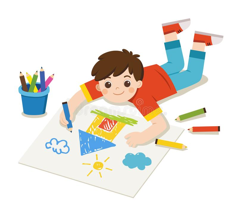 Happy Boy draw pictures and paints on floor. royalty free illustration
