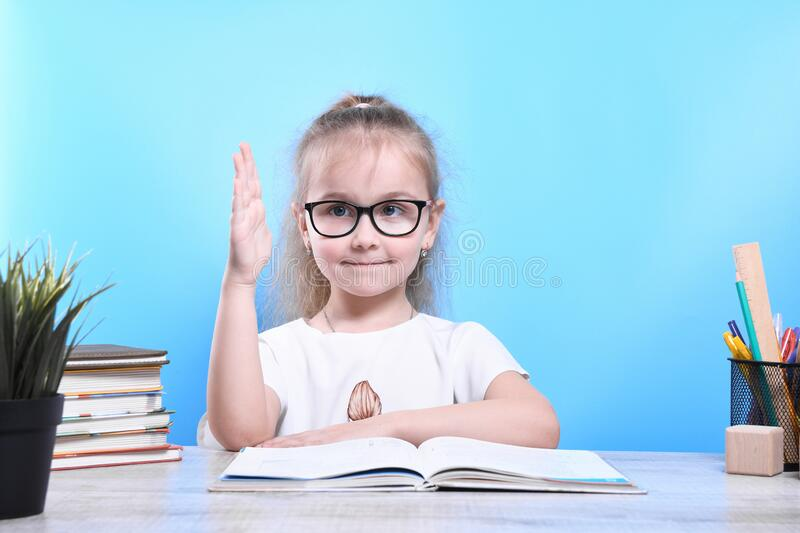 Back to school .Happy cute industrious child is sitting at a desk indoors. Kid is learning in class. Back to school Happy cute industrious child is sitting at a royalty free stock photo