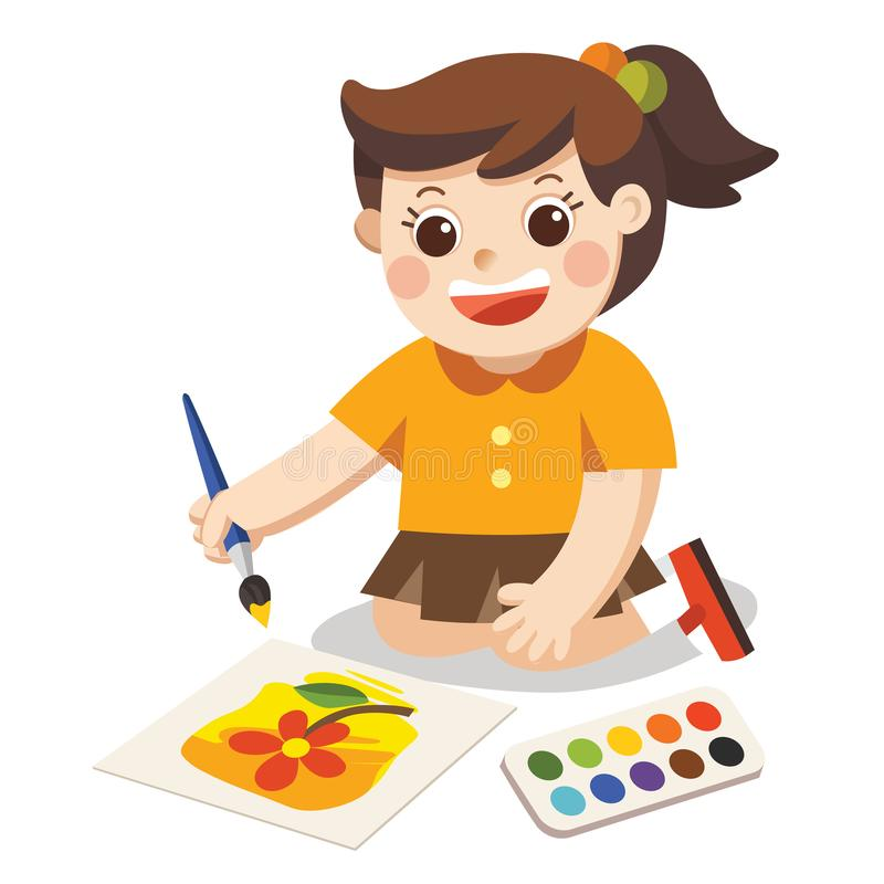 Happy Girl draw pictures pencils and paints on floor.Isolated vector royalty free illustration