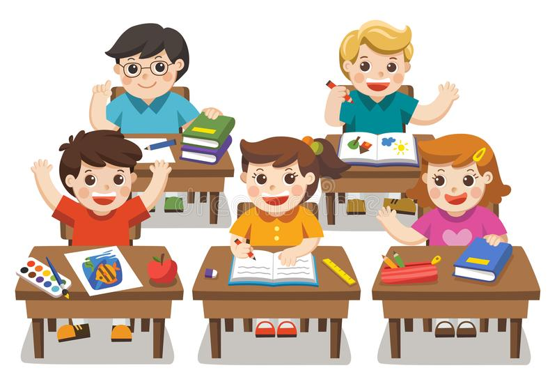 Back to school. Happy students studying. royalty free illustration