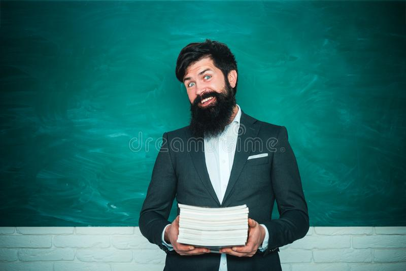 Back to school and happy time. Young teacher. Teacher job - profession and learning concept. World teachers day. Back to school and happy time. Young teacher royalty free stock photo