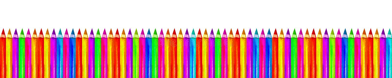 Back to school horizontal banner of colored pencils isolated on white background. Copy space for text. Hand drawing watercolor. royalty free stock photo