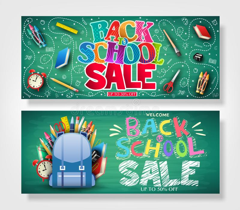 Back to School Horizontal Banner Set with Colorful Patterned Text vector illustration