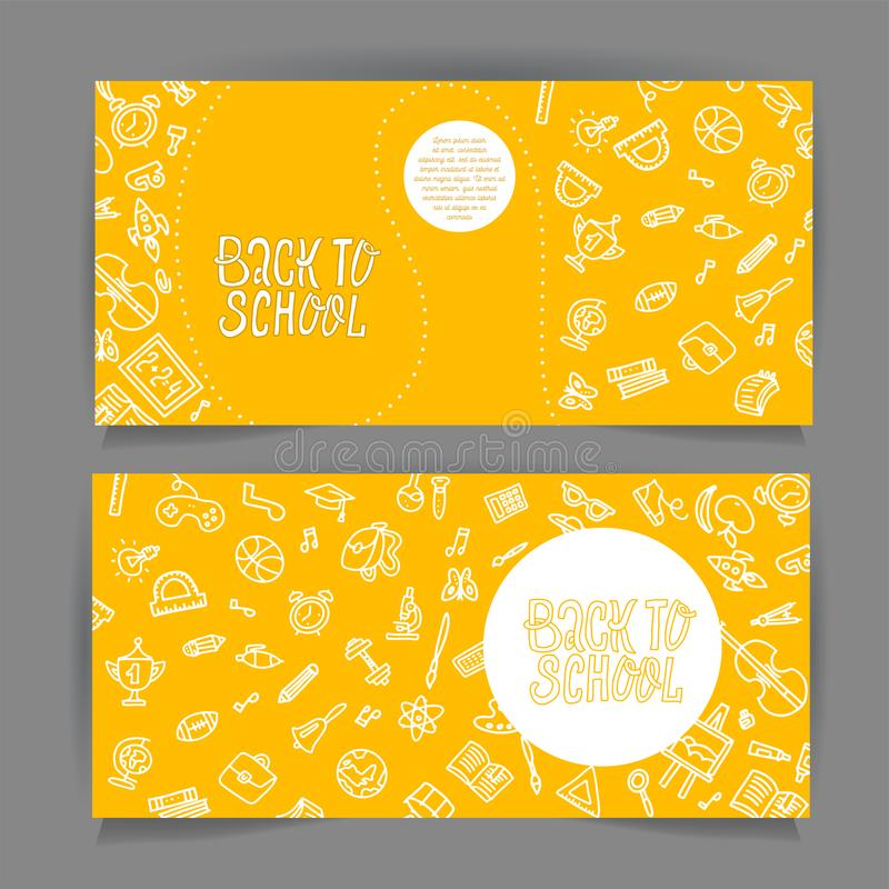 Back to school horizontal flyer template with different school objects. School sale banners set with white line doodle supplies royalty free illustration