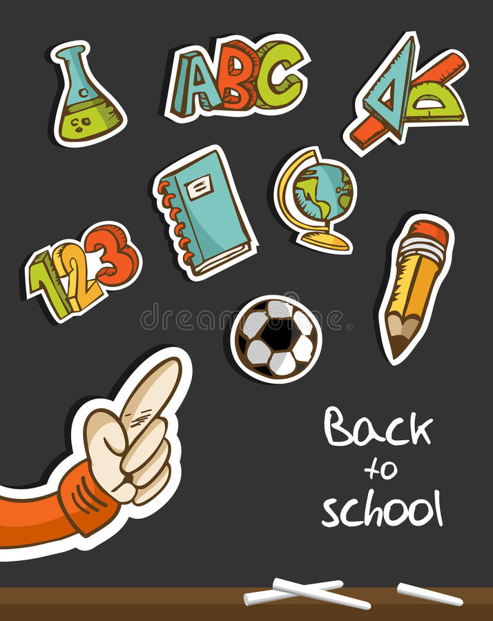 Back To School Icons And Hand On Blackboard Stock Image