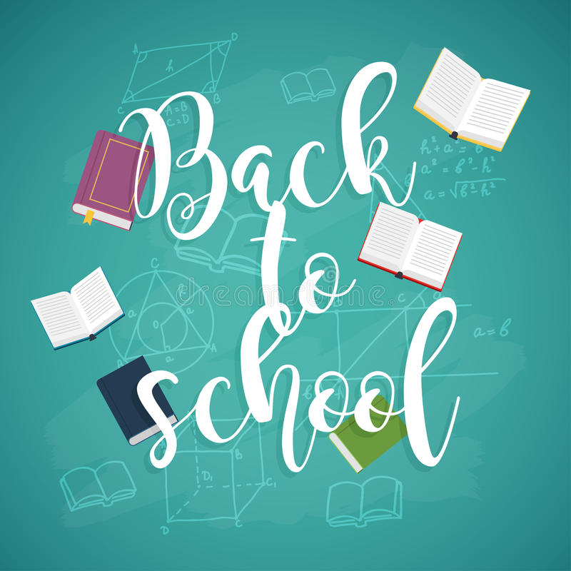 Back to school illustration with books and formulas. On the background royalty free illustration