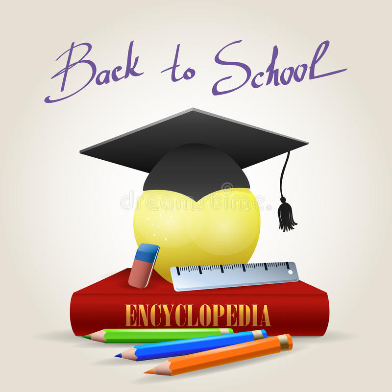 Back to School Illustration. Back to school design template with apple of knowledge in bachelor hat. Vector illustration of Encyclopedia book, eraser, ruler and stock illustration