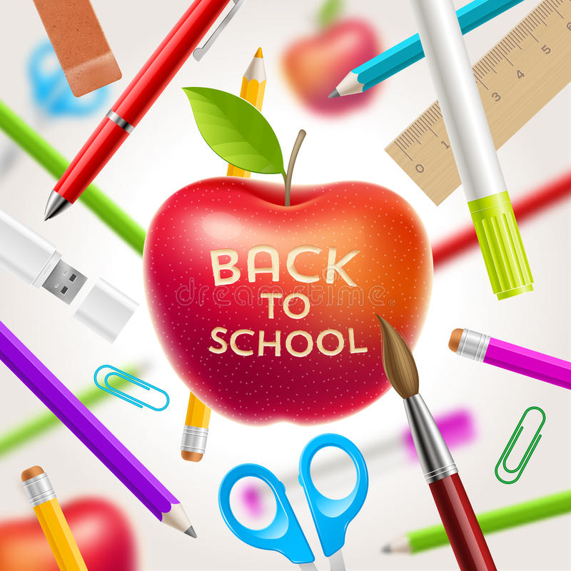 Back to school illustration. Red apple with greeting and stationery items stock illustration