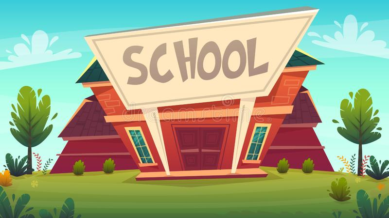 Back to school illustration . building street education fasade cartoon funny happy style . vector illustration vector illustration