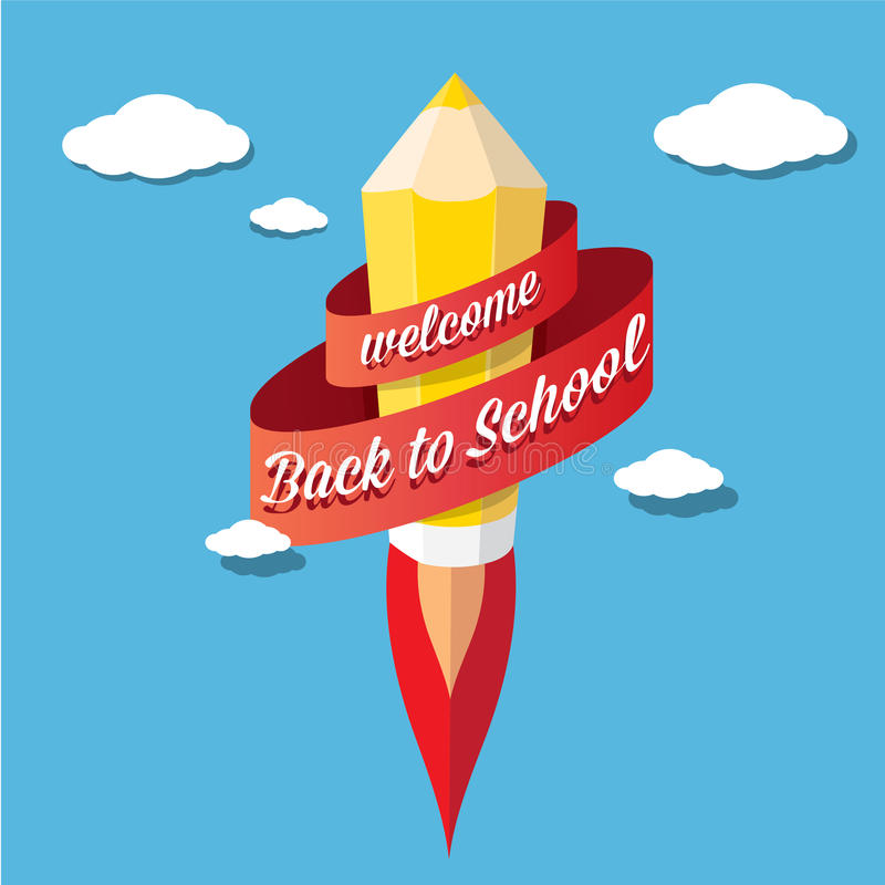 Back to school illustration with rocket pencil. Back to school vector concept illustration with rocket pencil launch in blue sky vector illustration