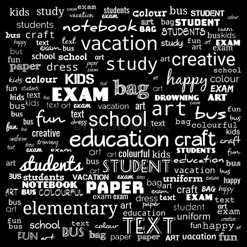 Back to School in important words in the business world cloud words - Illustration,black and white school word cloud,background. For web page, strategy vector illustration