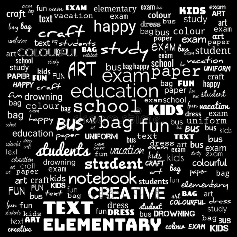 Back to School in important words in the business world cloud words - Illustration,black and white school word cloud,background. For web page, strategy stock illustration