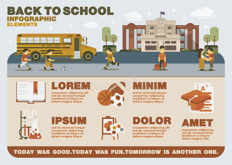 Back to school infographic elements vector illustration