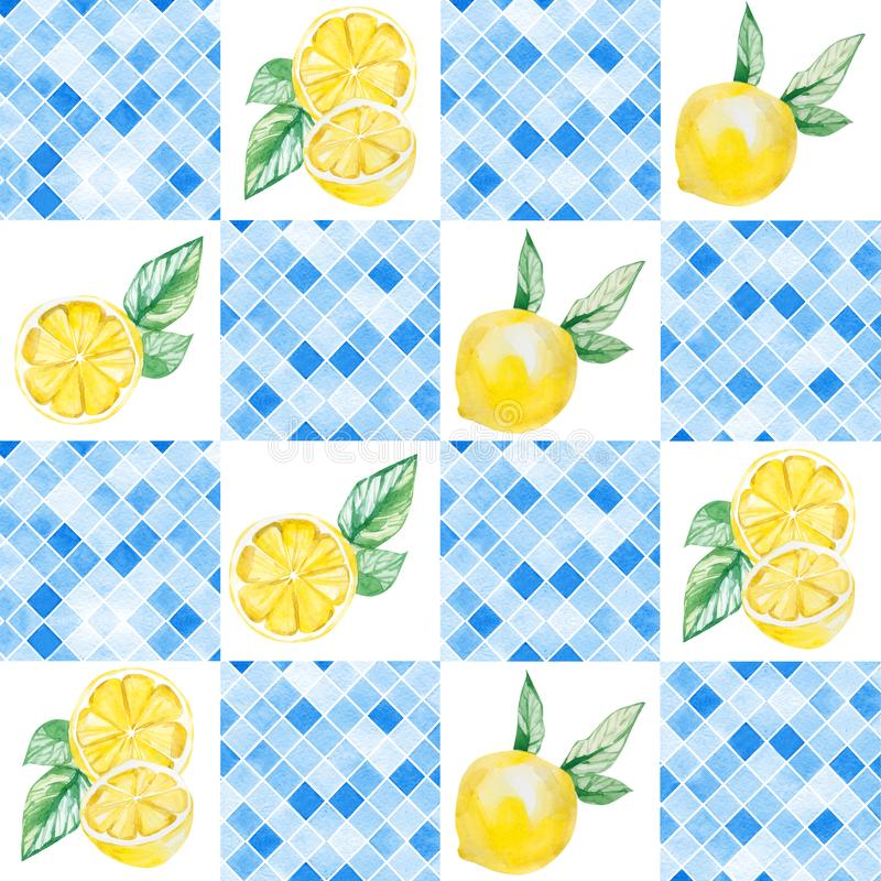 Watercolor ornament square pattern, Lemon Sicily, red and blue print. Summer pattern for the textile fabric and wallpaper royalty free illustration