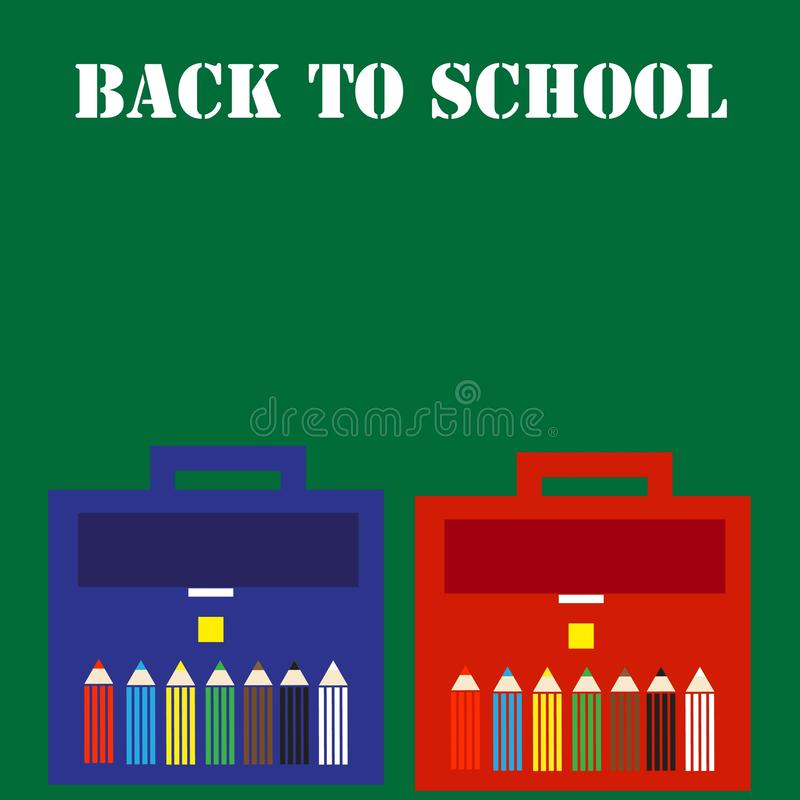 Back to school an inscription on a school green blackboard with two briefcases for a boy and a girl with pencils stock illustration