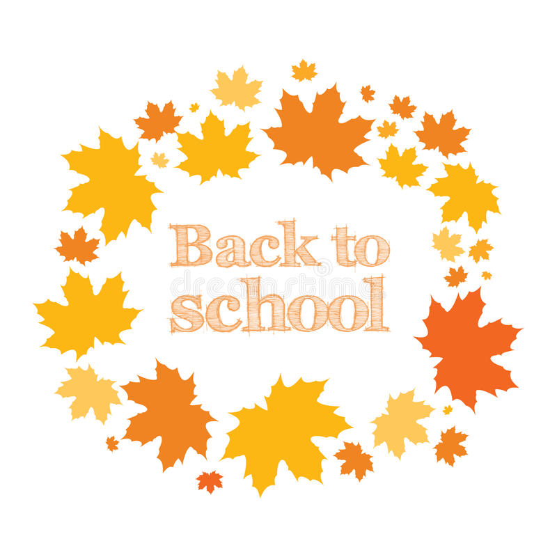 Back to school. Inscription in the ring of maple leaves. Autumn. Vector illustration stock illustration