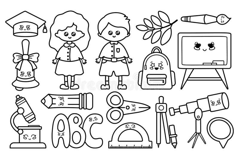 Back to School Kawaii. Set of black outline icons - school supplies, back to school, cute cartoon characters - boy and girl, pencil, backpack, scissors, compass stock illustration